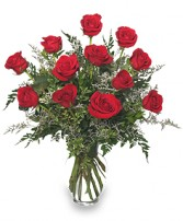 CLASSIC DOZEN ROSES Red Rose Arrangement in Miami, FL | THE VILLAGE FLORIST