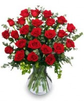 24 RADIANT ROSES Red Roses Arrangement in Huntington, IN | Town & Country Flowers Gifts
