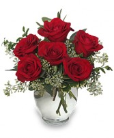 ROSEY ROMANCE Red Rose Bouquet Best Seller in Michigan City, IN | WRIGHT'S FLOWERS AND GIFTS INC.
