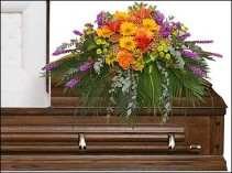 RADIANT MEDLEY CASKET SPRAY Funeral Flowers in Worthington, OH | UP-TOWNE FLOWERS & GIFT SHOPPE
