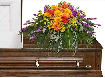 RADIANT MEDLEY CASKET SPRAY Funeral Flowers in Cedar City, UT | BOOMER'S BLOOMERS & THE CANDY FACTORY