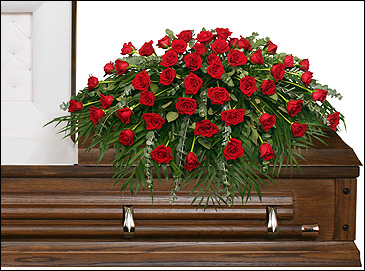 MAJESTIC RED CASKET SPRAY of Funeral Flowers in Pembroke, MA | CANDY JAR AND DESIGNS IN BLOOM