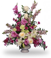 MAGENTA SUNSET URN Funeral Flowers in Monroe, NY | LAURA ANN FARMS FLORIST