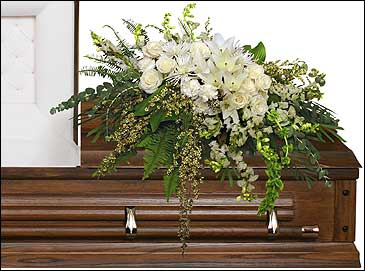 GARDEN ELEGANCE CASKET SPRAY Funeral Flowers in Ellenton, FL | COTTAGE FLOWERS & MOORE