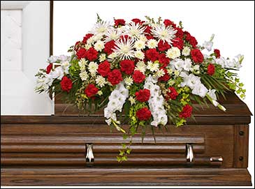 GRACEFUL RED & WHITE CASKET SPRAY  Funeral Flowers in Aurora, MO | CRYSTAL CREATIONS FLORAL & GIFTS