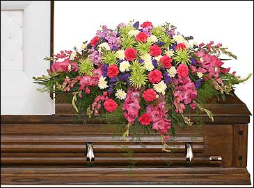 ETERNAL BEAUTY CASKET SPRAY  Funeral Flowers in Cedar City, UT | BOOMER'S BLOOMERS & THE CANDY FACTORY