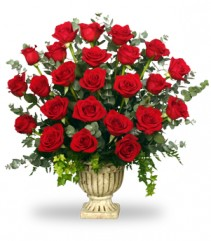 REGAL ROSES URN   Funeral Flowers in Tallahassee, FL | HILLY FIELDS FLORIST & GIFTS