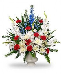PATRIOTIC MEMORIAL  Funeral Flowers in Aurora, MO | CRYSTAL CREATIONS FLORAL & GIFTS