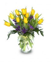 SUNNY TULIPS Flower Vase in West Hills, CA | RAMBLING ROSE FLORIST