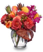 FALL FLIRTATIONS Vase Arrangement in Michigan City, IN | WRIGHT'S FLOWERS AND GIFTS INC.