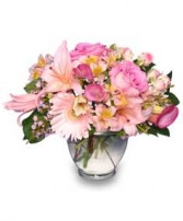 DELICATE AFFECTION Pink Floral Vase in Peru, NY | APPLE BLOSSOM FLORIST
