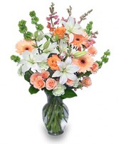 PEACHES & CREAM Flower Arrangement in Bracebridge, ON | CR Flowers & Gifts ~ A Bracebridge Florist