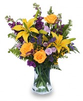 STELLAR YELLOW Flower Arrangement in Bath, NY | VAN SCOTER FLORISTS