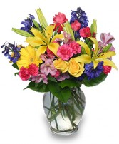 RAINBOW OF BLOOMS Vase of Flowers in Leominster, MA | DODO'S PHLOWERS