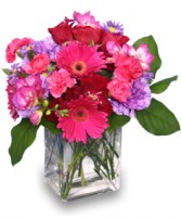 HOT PINK PIZZAZZ  Flower Arrangement in Huntington, IN | Town & Country Flowers Gifts