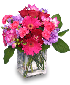 HOT PINK PIZZAZZ  Flower Arrangement in Leominster, MA | DODO'S PHLOWERS