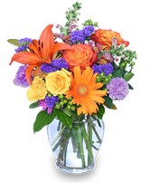 SUNSET WALTZ Vase of Flowers in Milton, MA | MILTON FLOWER SHOP, INC