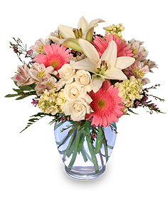 Welcome Baby Girl Flower Arrangement in Chicopee, MA | GOLDEN BLOSSOM FLOWERS & GIFTS