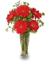 RITZY RED GERBERAS Flower Arrangement in Prospect, CT | MARGOT'S FLOWERS & GIFTS