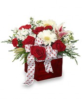 CHRISTMAS RIBBON & ROSES Bouquet in Catasauqua, PA | ALBERT BROS. FLORIST