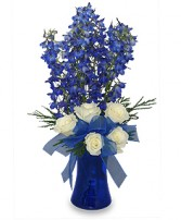 BRILLIANT BLUE Bouquet of Flowers Best Seller in Woburn, MA | THE CORPORATE DAISY