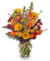 FALL TREASURES Flower Arrangement in Bath, NY | VAN SCOTER FLORISTS 