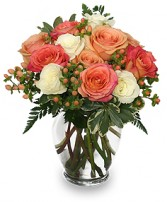 PEACH & WHITE ROSES Bouquet in Michigan City, IN | WRIGHT'S FLOWERS AND GIFTS INC.