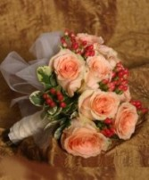 CORAL PEACH ROSES Bridal Wedding Bouquet in Burton, MI | BENTLEY FLORIST INC.