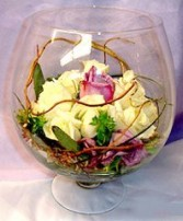 Glass Bowl of Roses & Curly Willow Reception Arrangement in Oakdale, MN | CENTURY FLORAL & GIFTS