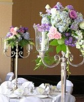 Pastel Candelabra Flowers Reception Arrangements in Oakdale, MN | CENTURY FLORAL & GIFTS