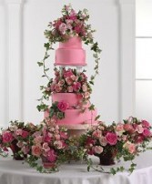 Wedding Reception Cake Lush Pink Roses with Ivy