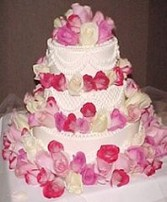 Wedding Cake with Pink & Ivory Roses in Oakdale, MN | CENTURY FLORAL & GIFTS