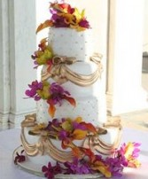 Wedding Cake with Colorful Tropical Flowers in Oakdale, MN | CENTURY FLORAL & GIFTS