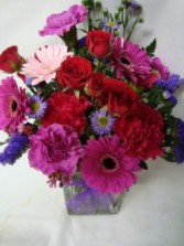 Mixed flowers in reds, purples and Pinks arranged in a vase!! in Oxford, OH | OXFORD FLOWER AND SORORITY GIFT SHOP