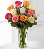 Dozen Mixed Roses arranged in vase. in Oxford, OH | OXFORD FLOWER AND SORORITY GIFT SHOP