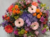 Beautiful Half Casket Piece with Pastels of Pinks, Lavenders, oranges, etc.