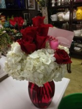 All My Love White Hydrangeas with Red Roses