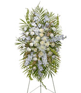 ALL WHITE STANDING SPRAY  Funeral Flowers in Windsor, ON | K. MICHAEL'S FLOWERS & GIFTS