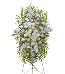 ALL WHITE STANDING SPRAY  Funeral Flowers in Austin, TX | TEXAS BLOOMS FLORIST