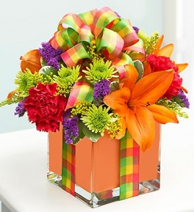 All Wrapped Up - Orange Cube Arrangement in Gladewater, TX | GLADEWATER FLOWERS & MORE