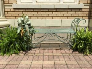 Antique Green Metal Bench  in Huntingburg, IN | GEHLHAUSEN'S FLOWERS GIFTS