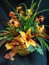 Autumn Lillies Silk Floral Arrangement