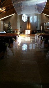 Babies Breath And Tulle Aisle