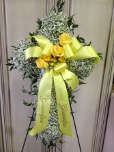 Babies Breath Cross Funeral Spray in Jonesboro, AR | HEATHER'S WAY FLOWERS & PLANTS