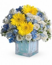 Baby's First Block by Teleflora - Blue New Baby Flowers