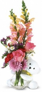 Bear Hug Bear with Pink Roses Flower With Gift  Arrangement