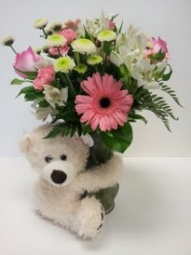Bear Hug in PINK Vase arrangement
