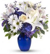 Beautiful Blue Fresh Flower Arrangement