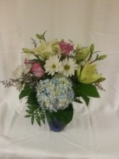 Beautiful Blue Glass Vase Arrangement