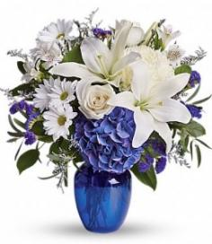 BEAUTIFUL IN BLUE Arrangement of Flowers in Riverside, CA | Willow Branch Florist of Riverside